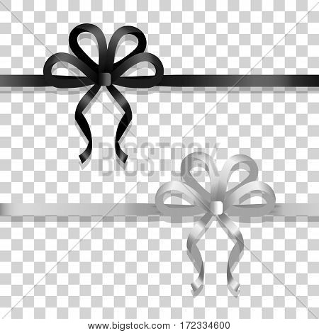 Illustration of two ribbons with bows. Black and silver narrow long lines with bows. Two bobs with four narrow petals and long tails. Simple cartoon design. Black and white colors. Flat style. Vector