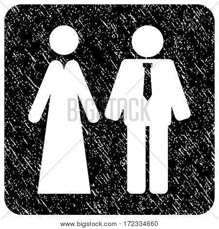 Newlyweds grunge textured icon. Rounded square with symbol shape hole. Flat style with dirty texture. Corroded vector black ink rubber seal stamp with grainy design.