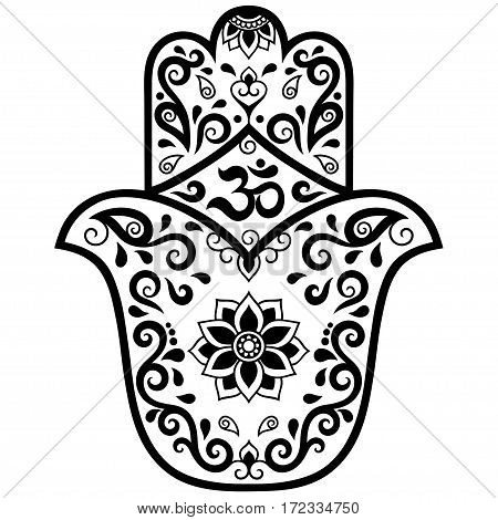 Vector hamsa hand drawn symbol. OM decorative symbol. Decorative pattern in oriental style for the interior decoration and drawings with henna. The ancient symbol of the