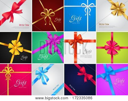 Big collection of various gift bows and ribbons. Yellow, red, blue, white, violet, pink lines. Wide and narrow ribbons. Decorations for gifts, presents, boxes. Cartoon design Vector illustration