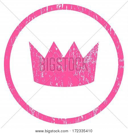 Crown grainy textured icon for overlay watermark stamps. Rounded flat vector symbol with scratched texture. Circled pink ink rubber seal stamp with grunge design on a white background.