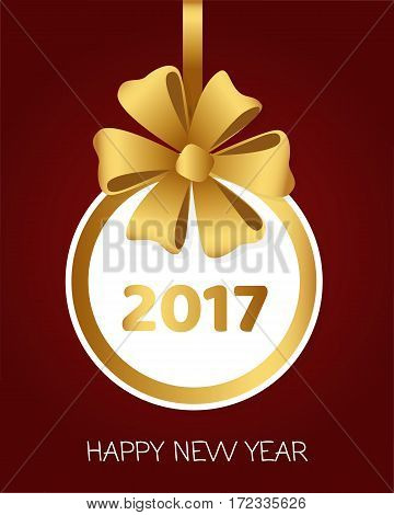 Happy New Year 2017 round banner with golden ribbon and big bow. Toy with white center. Christmas tree decoration. Bright bow with six petals. Simple cartoon design. Front view. Flat style. Vector.