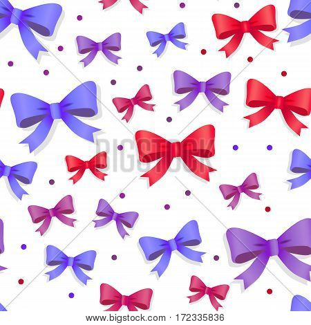 Seamless pattern with bows isolated on white. Pussy color bright bowknots endless texture. Gift knots of ribbon in flat style design. Overwhelming bow decorative elements Vector cartoon illustration