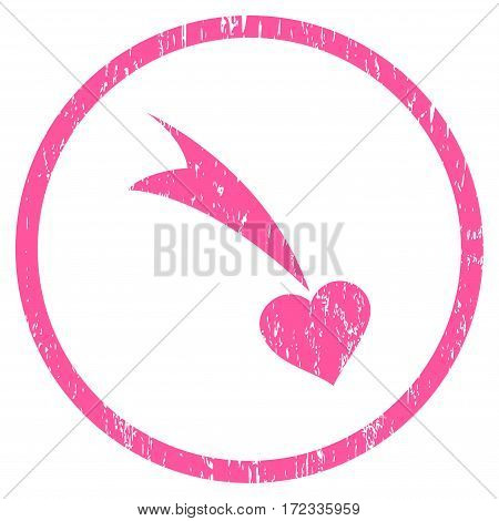 Falling Heart grainy textured icon for overlay watermark stamps. Rounded flat vector symbol with scratched texture. Circled pink ink rubber seal stamp with grunge design on a white background.