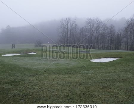 Very much fog on the golf course this morning