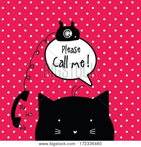 Call me card with copy space. Cat character with speech bubble.