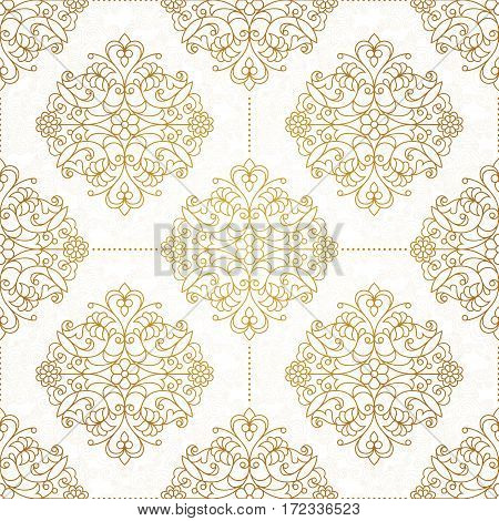 Vintage design element in Eastern style. Vector seamless pattern with floral ornament. Ornamental lace tracery. Golden ornate illustration for wallpaper. Traditional arabic decor on light background.