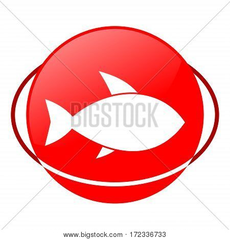 Red icon, fish vector illustration on white background
