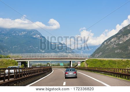 GERMANY - OCTOBER 18 2016: View of driver looking at cars on German Autobahn in Bavarian Alps October 18 2016