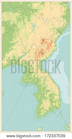 Retro color Korean Peninsula Physical Map. No text. Vector illustration.