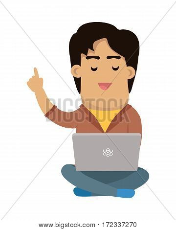 Programmer working on laptop. Cartoon man character seating in lotus pose with computer on his knees flat vector illustration isolated on white background. Online communication. Learning in Internet
