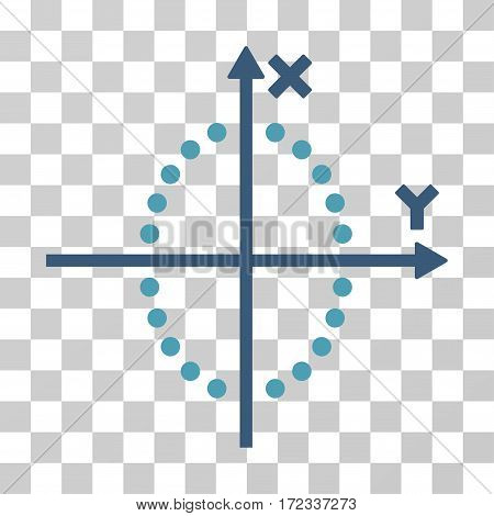 Ellipse Plot vector icon. Illustration style is flat iconic bicolor cyan and blue symbol on a transparent background.