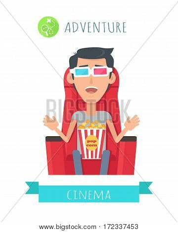 Adventure film concept. Excited man seating in comfortable chair with popcorn in cinema flat vector isolated on white. Cinemaddict on film premiere. Entertainment on 3D attraction. For movie promotion