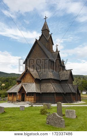 Norwegian stave church. Heddal. Historic building. Norway tourism highlight. Vertical