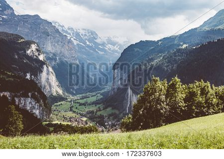 Scenic surroundings near the resort Wengen. Great and gorgeous scene. Famous tourist attraction. Location place Swiss alp, Lauterbrunnen valley, Bernese Oberland, Europe. Discover the world of beauty.