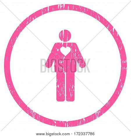 Groom grainy textured icon for overlay watermark stamps. Rounded flat vector symbol with scratched texture. Circled pink ink rubber seal stamp with grunge design on a white background.