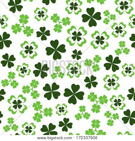 Vector illustration of seamless pattern background with four leaved green clover for saint Patricks day greeting isolated on white background