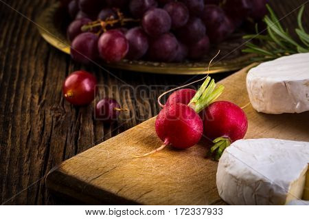 Cheese, Radish, Grapes And Herbs
