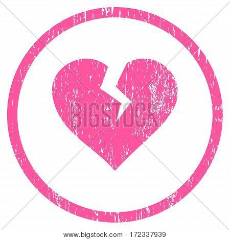 Heart Break grainy textured icon for overlay watermark stamps. Rounded flat vector symbol with unclean texture. Circled pink ink rubber seal stamp with grunge design on a white background.
