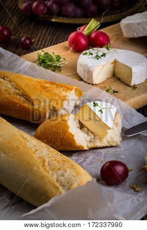 Cheese, Radish, Grapes And Baguette