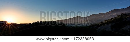 Alpes sunset. landscape panorama: view to the Pic des Chabrières during sunset.