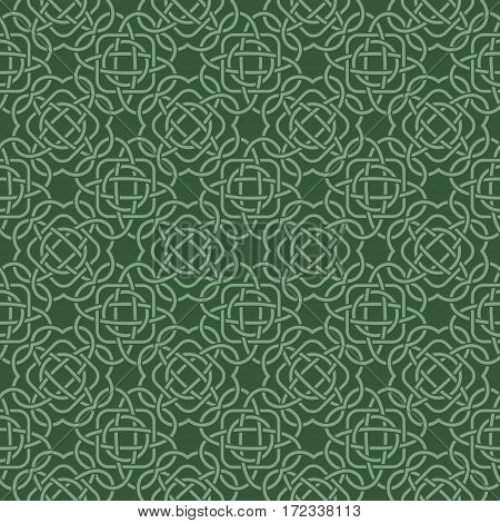 Clover Seamless Pattern In Celtic Style. St. Patrick's Day Endless Repeat Backdrop In Green Shades,