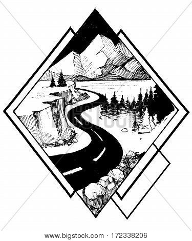 Road and mountain. Hand drawn illustration. Vector