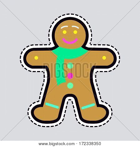 Gingerbread man decorated colored icing. Holiday cookie in shape of man. Qualitative vector illustration for new year s day, christmas, winter holiday, cooking, new year s eve, food, silvester
