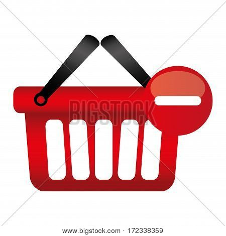 colorful silhouette with shopping basket with two handle and minus sign vector illustration