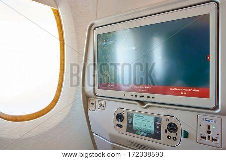 HONG KONG - CIRCA NOVEMBER, 2016: close up shot of a seat-back screen inside the cabin of a Emirates A380.