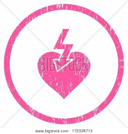 Heart Shock Strike grainy textured icon for overlay watermark stamps. Rounded flat vector symbol with dirty texture. Circled pink ink rubber seal stamp with grunge design on a white background.
