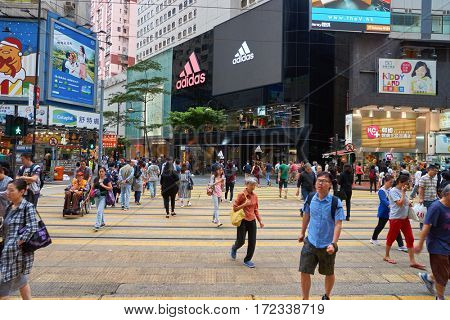 HONG KONG - CIRCA NOVEMBER, 2016: Adidas store in Hong Kong. Adidas AG is a German multinational corporation that designs and manufactures shoes, clothing and accessories.