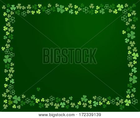 Abstract Ireland clover background for your Patrick's day greeting card design. Shamrock clover leaves frame isolated on dark green background. Vector illustration