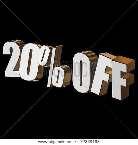 20 percent off letters on black background. 3d render isolated.