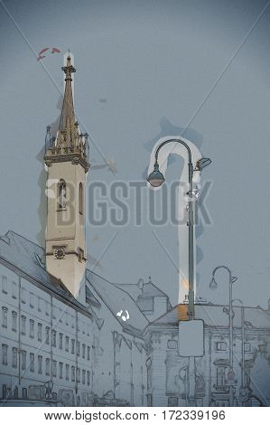 Beautiful travel photo of historical buildings in Vienna city center, Austria. Modern Painting. Brushed artwork based on photo. Background texture.