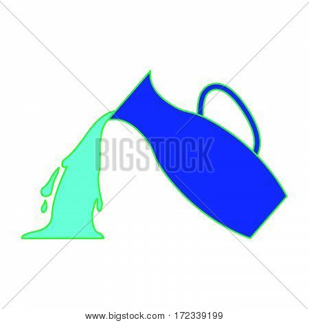 simple jug pouring water as aquarius icon vector