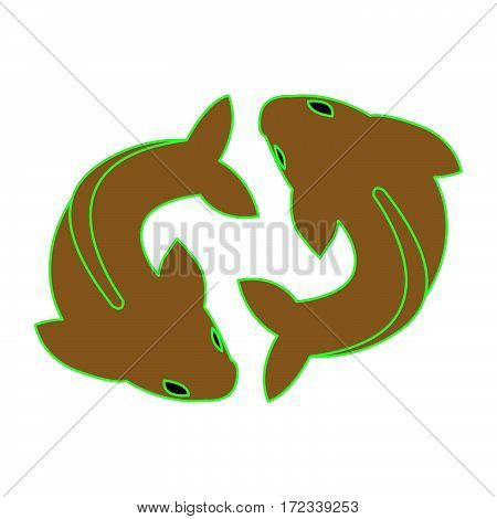 simple twin fish icon as pisces icon vector