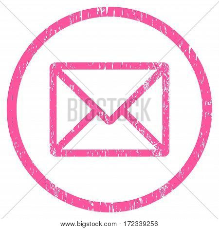 Letter grainy textured icon for overlay watermark stamps. Rounded flat vector symbol with dirty texture. Circled pink ink rubber seal stamp with grunge design on a white background.