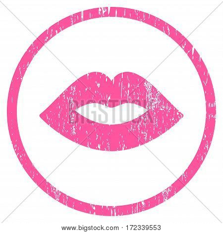 Lips grainy textured icon for overlay watermark stamps. Rounded flat vector symbol with dust texture. Circled pink ink rubber seal stamp with grunge design on a white background.