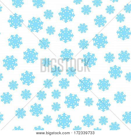 Seamless pattern snowflakes background. Endless texture in New Year, Christmas concept. Winter Xmas theme. Realistic pattern with snowflakes, snow. Fabric textile, print material. Vector in flat style