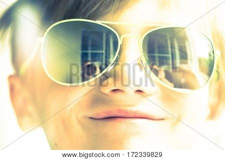Happy Little Boy in Sunglases Enjoying Summer Holidays Vacation Closeup, Summer Outdoors, Childhood Memories, Toned Image