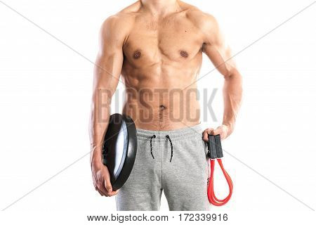 Fit muscular male body on white background stock picture