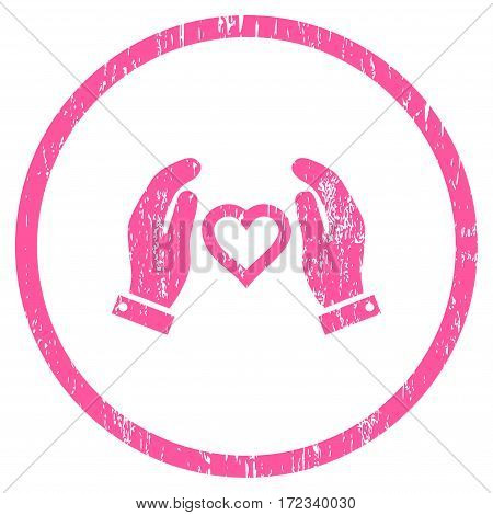 Love Care Hands grainy textured icon for overlay watermark stamps. Rounded flat vector symbol with scratched texture. Circled pink ink rubber seal stamp with grunge design on a white background.