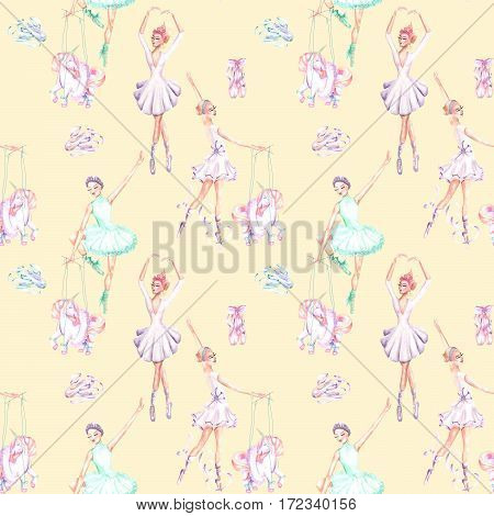 Seamless pattern with watercolor ballet dancers, puppet unicorns and pointe shoes, hand drawn isolated on a tender yellow background