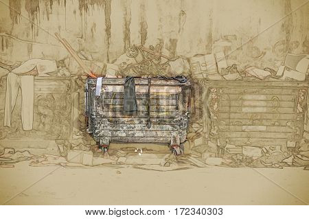 Dumpsters being full with garbage in a city. Modern Painting. Brushed artwork based on photo.