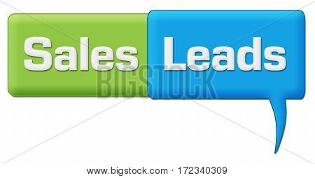 Sales leads text written over green blue background.