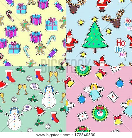 Gifft boxes, candies, angel, wreath, bell tree santa clause, snowman, socks, speech bubble, mistletoe, snowflakes, glasses seamless patterns set Christmas elements in cartoon style Vector illustration