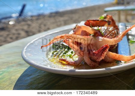 Mediterranean cuisine. Sea food. Stuffed squid with feta cheese grilled is shown on the table outdoor beach restaurant in Greece
