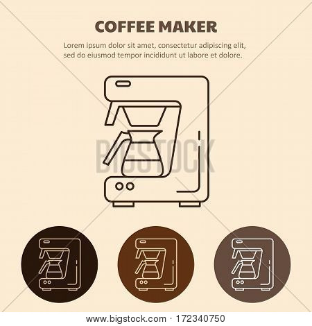 Modern coffee machine line icon. Coffee maker with coffee pot. Household appliances isolated on colored background.