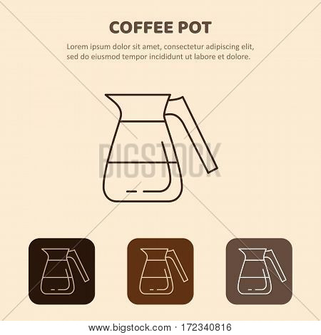 Coffee pot outline icon. Household appliances isolated on colored background.
